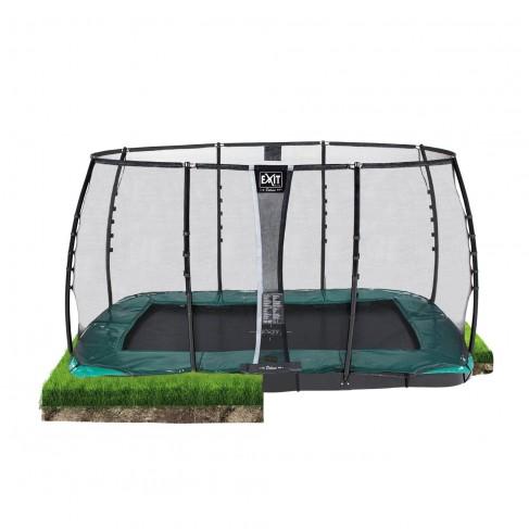 EXIT Supreme Ground Level - Grøn - firkantet trampolin til nedgravning med sikkerhedsnet