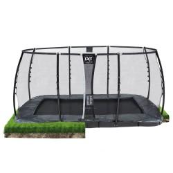 EXIT Supreme Ground Level - Grå - firkantet trampolin til nedgravning med sikkerhedsnet