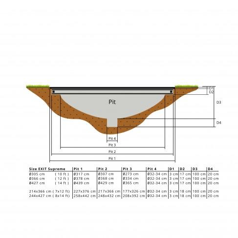 EXIT Supreme Ground Level - Sort- rund trampolin til nedgravning