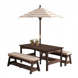 KidKraft bord-bænkesæt m/parasol til børn - Mørk