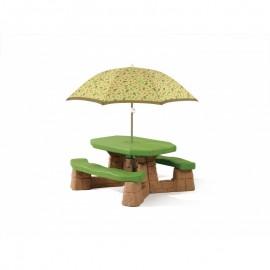Step2 picnicbord XL med parasol (natur)