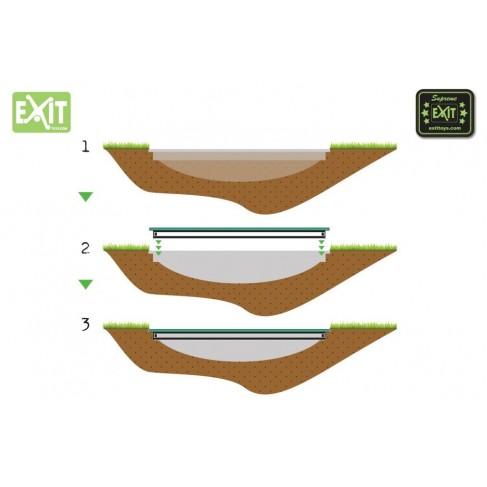 EXIT Supreme Ground Level - Grøn - rund trampolin med sikkerhedsnet til nedgravning
