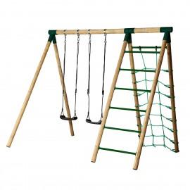 Hörby Bruk Træ Gyngestativ Active High med klatrenet og stige