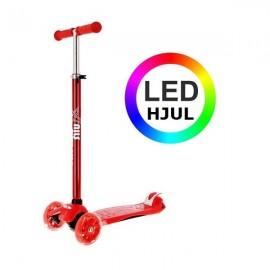 NILS Trehjulet LED Løbehjul 2 -12 år - Rød