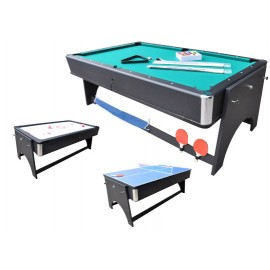 4-i-1 multibord med Pool / Airhockey / Bordtennis / Spisebord