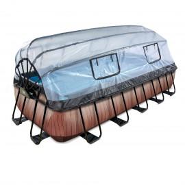 EXIT pool 540x250x100cm med dome og sandfilterpumpe - Wood