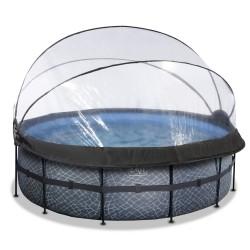 EXIT pool ø427x122cm med dome og filterpumpe - Stone