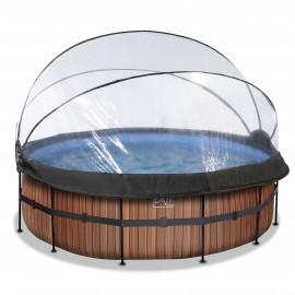 EXIT pool ø427x122cm med dome og filterpumpe - Wood