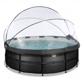 EXIT Black Leather pool ø427x122cm med dome og filterpumpe - sort