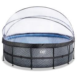 Stone pool ø450x122cm med dome og filterpumpe - EXIT