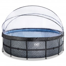 Stone pool ø450x122cm med dome og filterpumpe - grå - EXIT