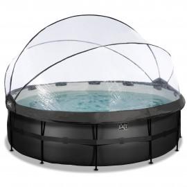 EXIT Black Leather pool ø450x122cm med dome og sandfilterpumpe - sort