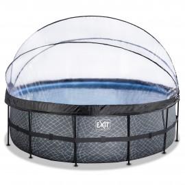 EXIT Stone pool ø488x122cm med dome og filterpumpe - grå