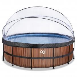 EXIT Wood pool ø488x122cm med dome og filterpumpe - brun