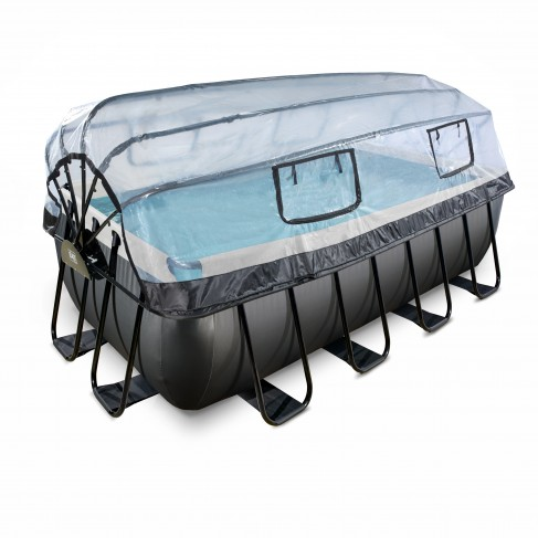EXIT Black Leather pool 540x250x122cm med dome og filterpumpe - sort