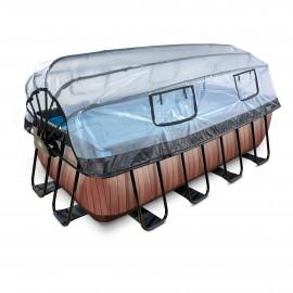 EXIT Wood pool 540x250x122cm med dome og sandfilterpumpe - brun