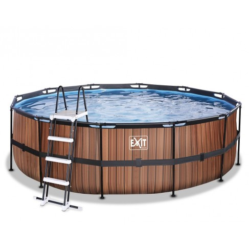 Wood pool ø4,5x1,22m med filterpumpe og stige - Exit