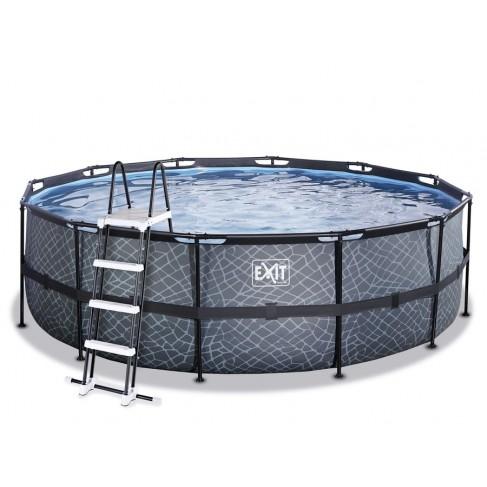 Stone pool ø4,5x1,22m med filterpumpe og stige - EXIT