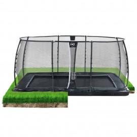 Dynamic trampolin til nedgravning 275x458cm med sikkerhedsnet - EXIT
