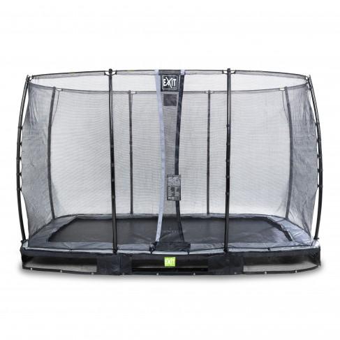 EXIT Elegant nedgravet trampolin 244x427cm med Economy sikkerhedsnet - sort