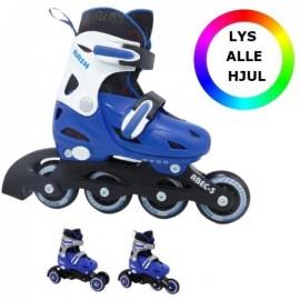 RASK 3i1 rulleskøjte med lys i hjulene - Blå