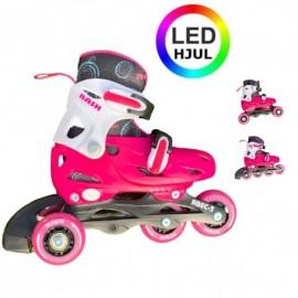 RASK 3i1 rulleskøjte med lys i hjulene - Pink