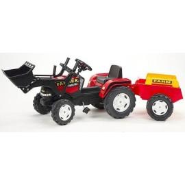Falk Farm Power Max pedaltraktor m/frontskovl og anhænger