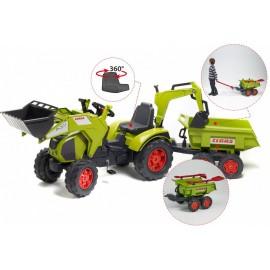 Claas Axos Traktor m/Frontskovl + Gravekran + Maxi Anhænger + Værktøj
