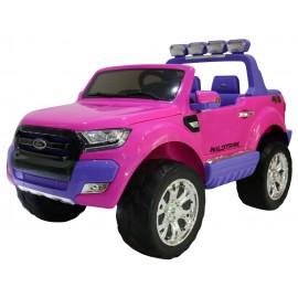 Ford Ranger 12V i med gummihjul og fjernbetjening - Lilla