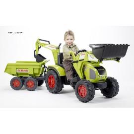 Claas Axos Traktor m/Frontskovl + Gravekran + vogn