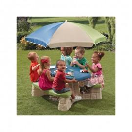 Step2 picnicbord XL med parasol (aqua)