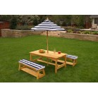 KidKraft bord-bænkesæt m/parasol til børn