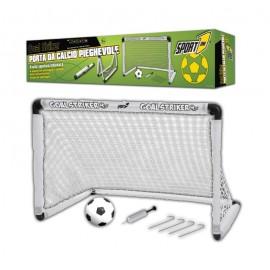 Foldbart fodbolmål med fodbold og pumpe