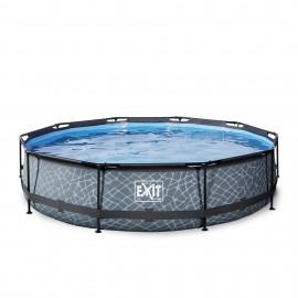 EXIT Stone pool ø360x76cm med filterpumpe