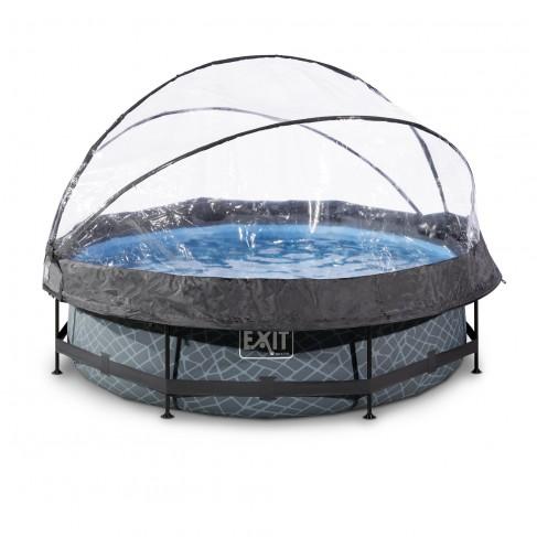 EXIT Stone pool ø3,0m med dome og filterpumpe