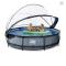 EXIT Stone pool ø360x76cm med dome og filterpumpe