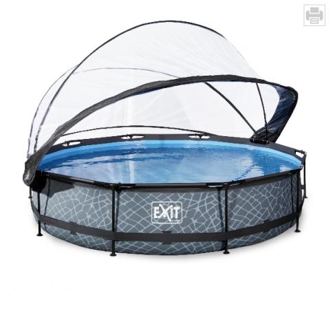 EXIT Stone pool ø3,6m med dome og filterpumpe