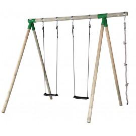 Hörby Bruk Træ Gyngestativ Høj med klatrereb